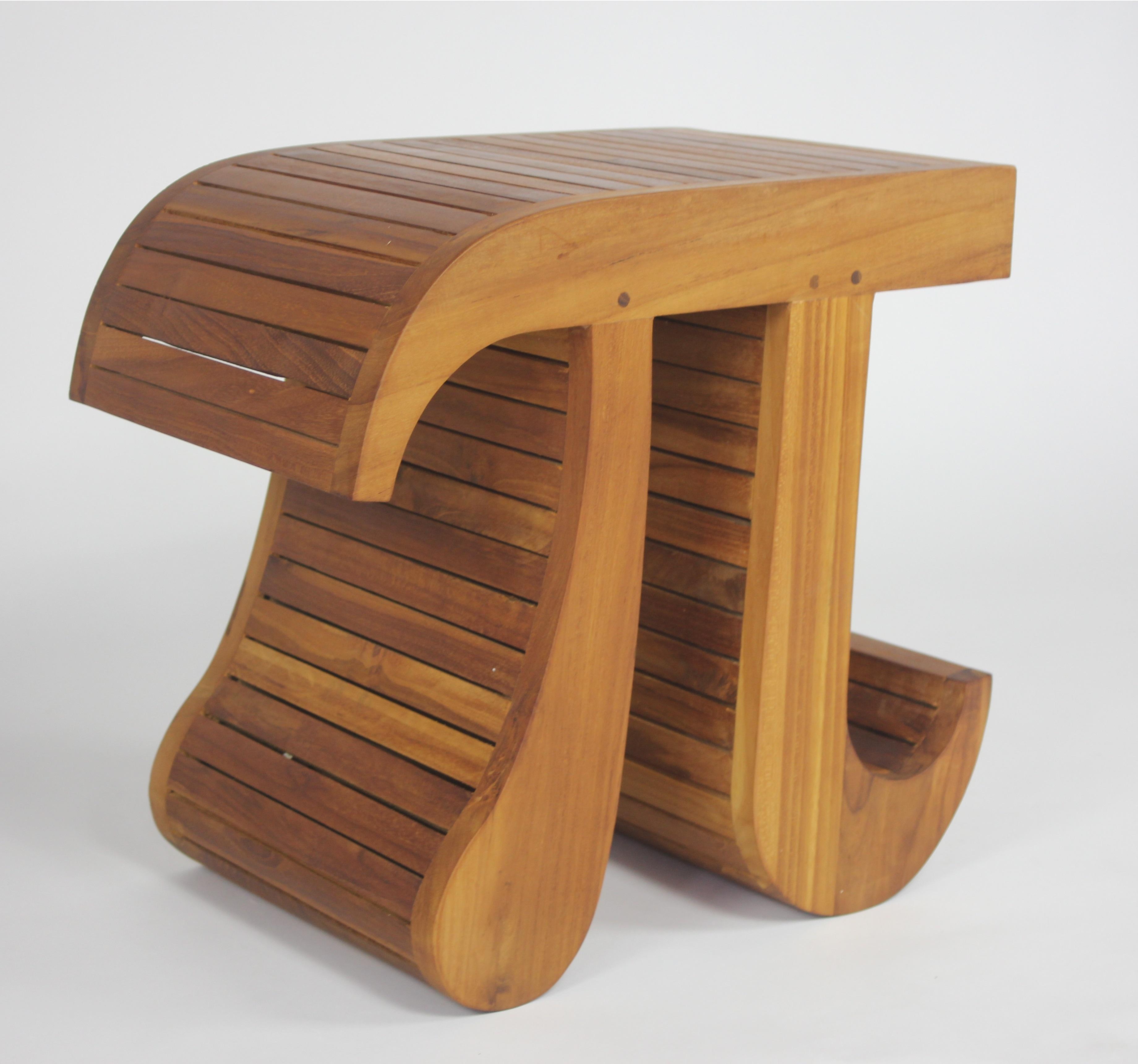 Stylish Pi Shaped Teak Shower Chair Aqua Teak