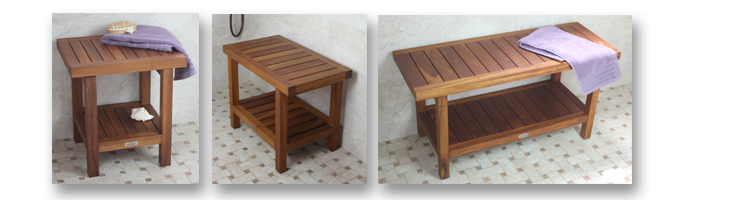 Teak Spa Shower Stools | Teak Shower Bench | Aqua Teak