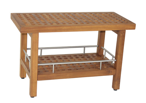 The Original 30 Grate Teak Stainless Shower Bench With Shelf