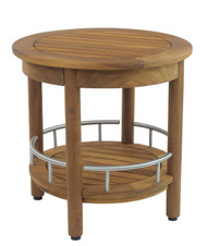 "The Original 18"" Round Omega Teak & Stainless Shower Bench with Shelf"