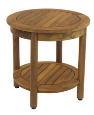 "The Original 18"" Round Omega Teak Shower Bench with Shelf"
