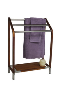 The Original Sula Angled Teak Stainless Towel Stand