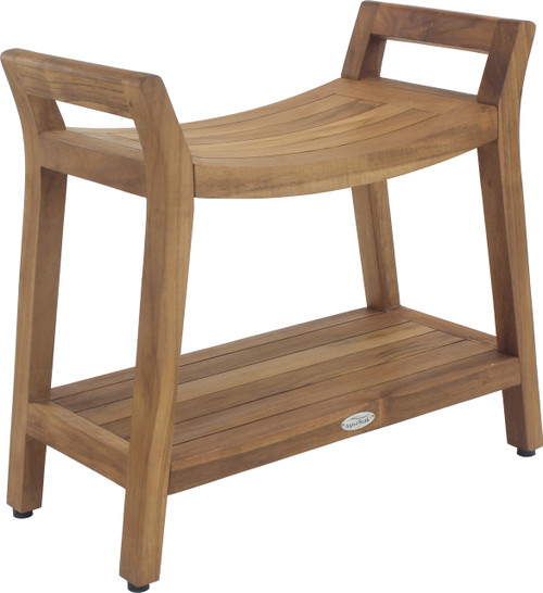 Asia Ascend Teak Shower Bench with Shelf (126)