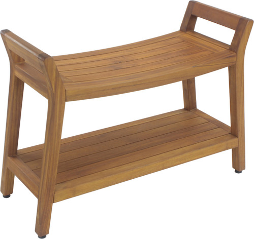 Asia Ascend Estate Teak Shower Bench with Shelf (128)