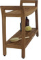 Asia Ascend Estate Teak Shower Bench with Elevated Height and Shelf