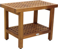 "24"" Wide Grate™ Teak Side Table with Shelf"