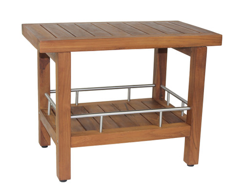 teak & stainless side table with shelf