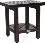 "18"" Grate™ Mocha Teak Side Table with Shelf"