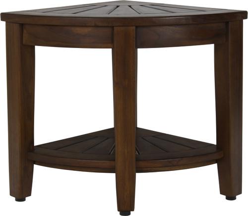 """15.5"""" Kai™ Corner Walnut Teak Side Table with Shelf"""