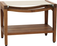"Patented 24"" Asia® Sling Teak Shower Bench with Shelf (Taupe Sling)"