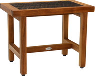 "24"" Spa-Lotus Fusion Teak Shower Bench (Brown Weave)"