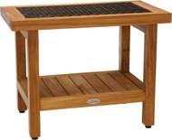 "24"" Spa Teak Shower Bench with Shelf (Brown Weave)"