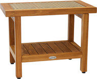 "24"" Spa Fusion Teak Shower Bench with Shelf (Natural Weave)"