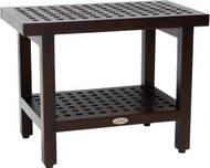 "24"" Grate™ Mocha Teak Shower Bench with Shelf"