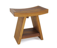 """Scratch & Dent - Patented 18"""" Asia® Teak Shower Bench with Shelf"""