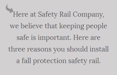 A note from Safety Rail Company.