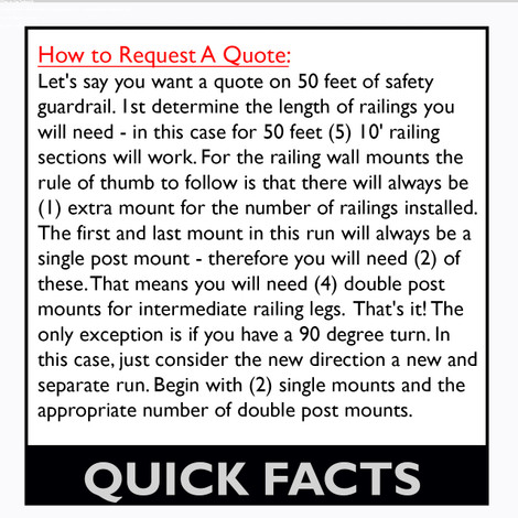 QUICK FACTS FOR PIT MOUNT GUARDRAIL