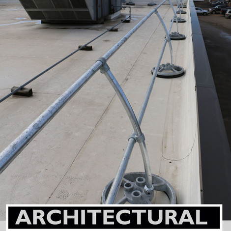 ACCU-FIT MOBILE GUARDRAIL WITH ARCHITECTURAL CURVED STANCHIONS