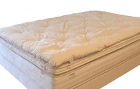 Palmpring Organic Wool Topper on a mattress.