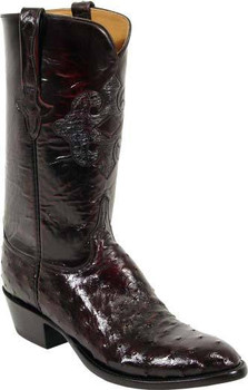 Lucchese Classics Full Quill Ostrich Black Cherry Brush Off L1182