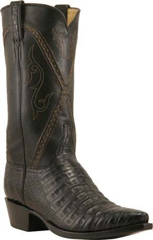 Lucchese Classics Caiman Crocodile Belly Straight Cut Black Silk L1396