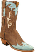 Lucchese 1883 Rios Inlay w/ Greer Collar Destroyed Antique Brown Buffalo W/robin Egg Wingtip Destoyed N4638