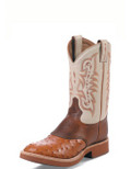 Tony Lama EXOTIC WESTERN  COWBOY CREPE® PEANUT BRITTLE FULL QUILL OSTRICH FOOT WITH SUNSET RENEGADE SADDLE #8880