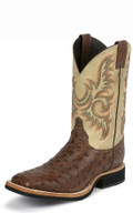 Men's Justin AQHA LIFESTYLE COLLECTION Q-CREPE™ SERIES ANTIQUE BROWN  FULL QUILL OSTRICH #8582