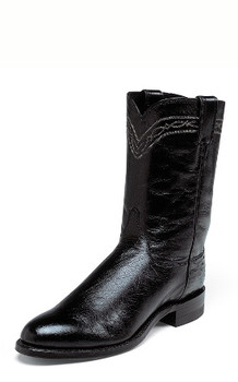Men's Justin EXOTIC ROPERS Collection BLACK SMOOTH OSTRICH #3172