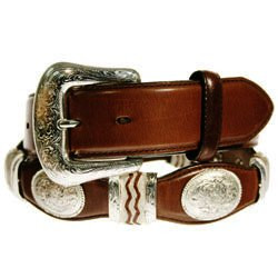 "BROWN CUTTING CHAMP 1 1/2"" RAWHIDE AND SILVER CONCHO #9117L"