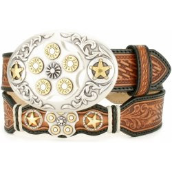 "NATURAL TEXAS SECURITY 1 1/2"" FLORAL TOOLED LEATHER WITH REVOLVER &STAR CONCHO#C70214"
