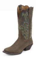 "Justin Women's STAMPED WESTERN COLLECTION 12"" SORREL APACHE #L2552"