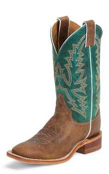 "Justin Women's BENT RAIL COLLECTION 11"" AMERICA BURNISHED/TURQUOISE PONTEGGIO CALF #BRL317"
