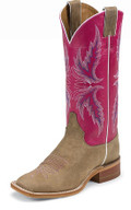 "Justin Women's BENT RAIL COLLECTION 13"" TAN VINTAGE COW / DARK PINK CLASSIC #BRL311"