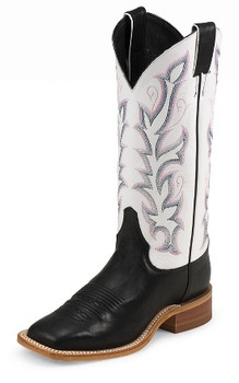 "Justin Women's BENT RAIL COLLECTION 13"" BLACK BURNISHED CALF / WHITE CLASSIC #BRL313"