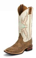 "Justin Women's BENT RAIL COLLECTION 13"" IVORY COWHIDE / TAN PUMA COWHIDE #BRL336"