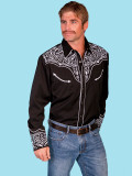 Scully Men's Long Sleeve Western Shirt Black #P-815-BLK