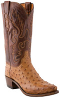 Men's Lucchese 1883 TAN BURNISHED MAD DOG PIN OSTRICH #N1062