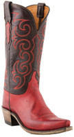 Women's Lucchese 1883 Miller Red Orly Calf with Chocolate Burnished Mad Dog Goat #N4722