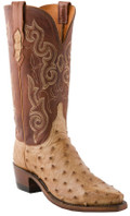 Women's Lucchese 1883 Amigo Tan Burnished Pin Ostrich with Tan Burnished Jersey Calf #N4061