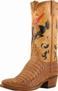 Men's Lucchese Classics Tan Burnished Hornback Caiman with Bucking Bronco Hand Tooled #L1430