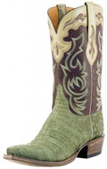 Men's Lucchese Classics Olive Suede Caiman Belly With Chocolate Ranch Hand and Collar #L1433