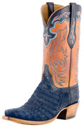 Men's Lucchese Classics Men's Navy Suede Caiman Belly With Cognac Ranch Hand and Collar #L1434
