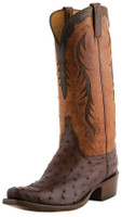 Men's Lucchese Classics Sienna Full Quill Ostrich with Peanut Brittle Burnished Mad Dog Goat #L1438