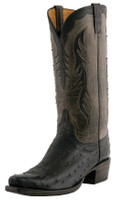 Men's Lucchese Classics Black Full Quill Ostrich with Grey Burnished Mad Dog Goat #L1439