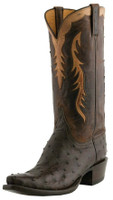 Men's Lucchese Classics Nicotine Full Quill Ostrich with Chocolate Burnished Mad Dog Goat #L1440