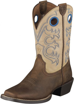 Children's Ariat Cross Fire, Size: 3 M, Distressed Brown/Cream Full Grain Leather