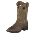 Kid's Ariat Boots Stockman Collection Distressed Brown and Brown Bomber #10001798
