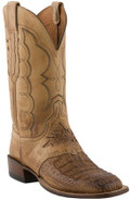 Men's Lucchese Since 1883 Cowboy Tan Burnished Hornback Caiman with Antique Saddle Jersey Calf  #C1063