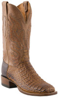 Men's Lucchese Since 1883 Cowboy Tan Burnished Waxy Hornback Caiman with Vanilla Sofia Goat #C1066